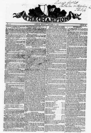 cover page of The Champion published on October 17, 1836