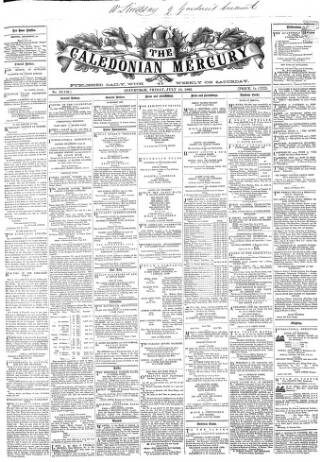 cover page of Caledonian Mercury published on July 18, 1862