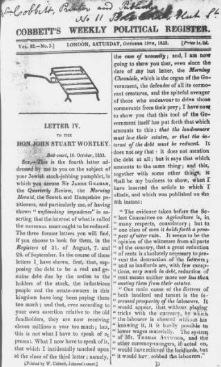 cover page of Cobbett's Weekly Political Register published on October 19, 1833