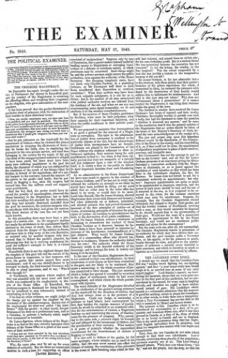 cover page of The Examiner published on May 27, 1843