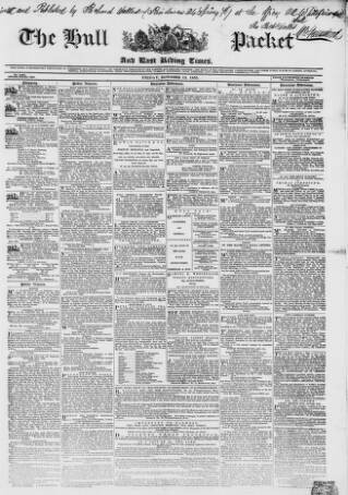 cover page of Hull Packet published on October 19, 1855