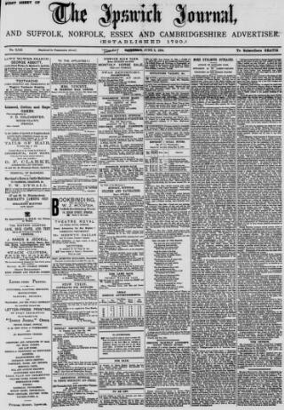 cover page of The Ipswich Journal published on June 3, 1884