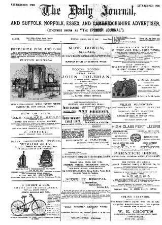 cover page of The Ipswich Journal published on May 25, 1888