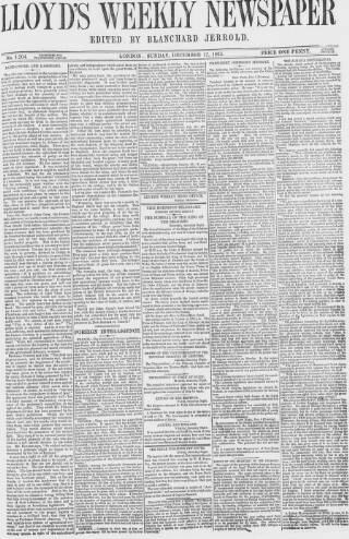 cover page of Lloyd's Weekly Newspaper published on December 17, 1865