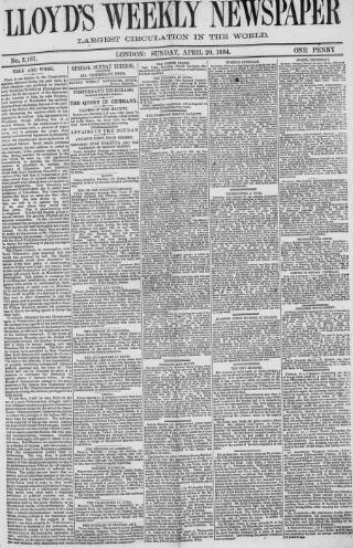 cover page of Lloyd's Weekly Newspaper published on April 20, 1884