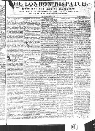 cover page of London Dispatch published on December 17, 1837