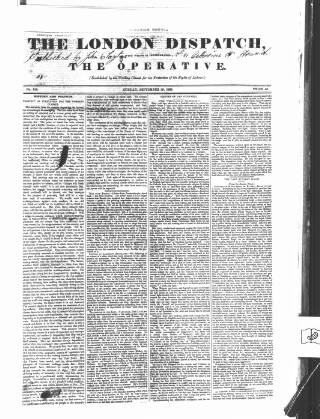 cover page of London Dispatch published on September 29, 1839