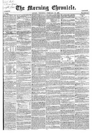 cover page of Morning Chronicle published on February 19, 1857