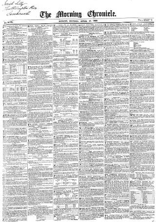 cover page of Morning Chronicle published on April 18, 1859
