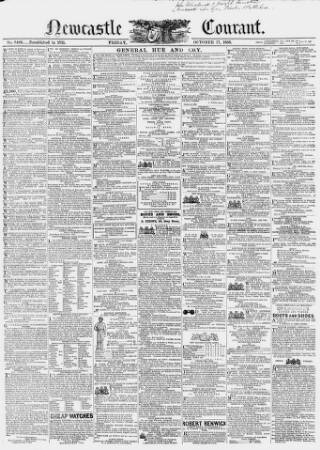 cover page of Newcastle Courant published on October 17, 1856