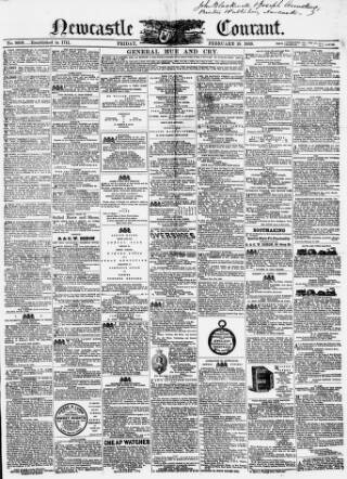 cover page of Newcastle Courant published on February 18, 1859