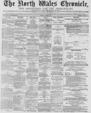 cover page of North Wales Chronicle published on October 20, 1877