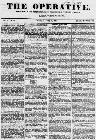 cover page of The Operative published on June 30, 1839