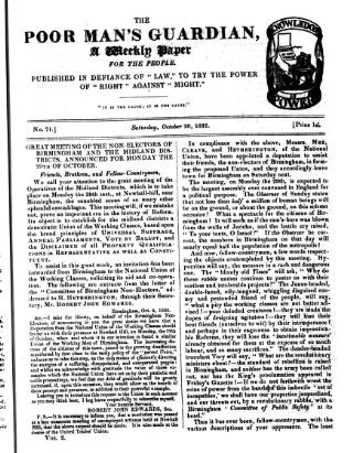 cover page of Poor Man's Guardian published on October 20, 1832