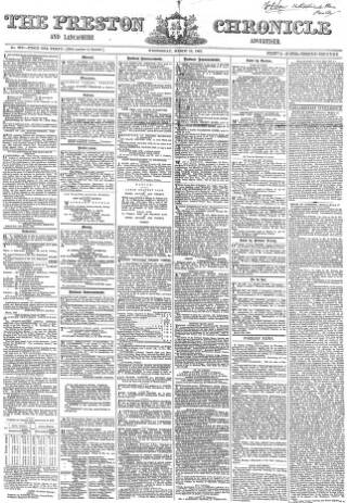 cover page of Preston Chronicle published on March 19, 1862