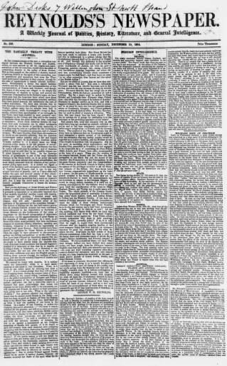 cover page of Reynolds's Newspaper published on December 10, 1854