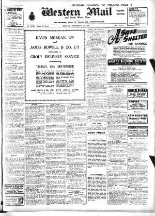 cover page of Western Mail published on September 18, 1939