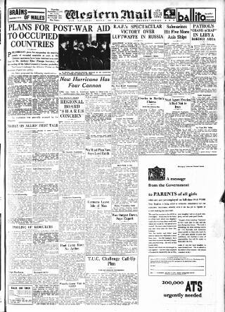 cover page of Western Mail published on September 25, 1941