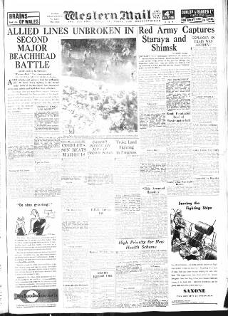 cover page of Western Mail published on February 19, 1944