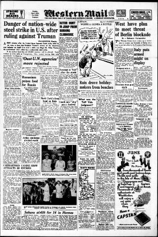 cover page of Western Mail published on June 3, 1952