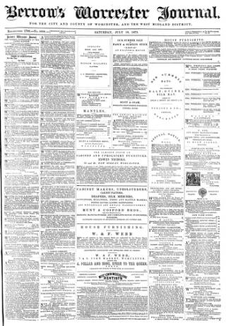 cover page of Worcester Journal published on July 19, 1873