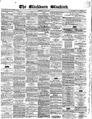 cover page of Blackburn Standard published on July 20, 1859