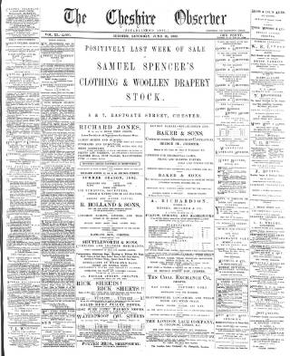 cover page of Cheshire Observer published on June 18, 1892