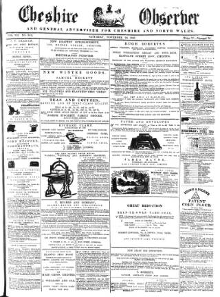 cover page of Cheshire Observer published on November 24, 1860