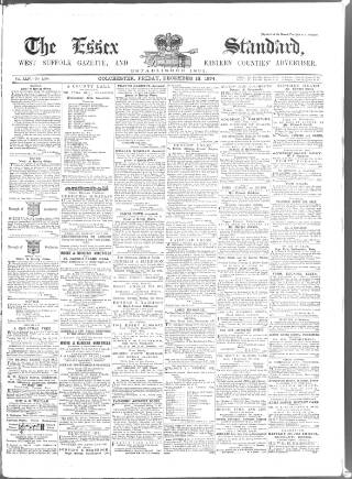 cover page of Essex Standard published on December 18, 1874