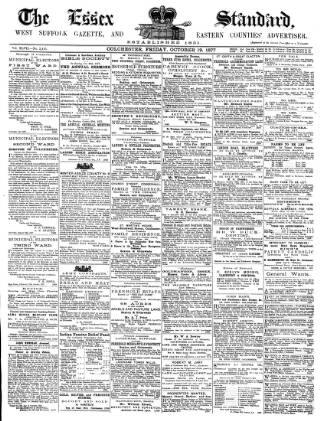 cover page of Essex Standard published on October 19, 1877