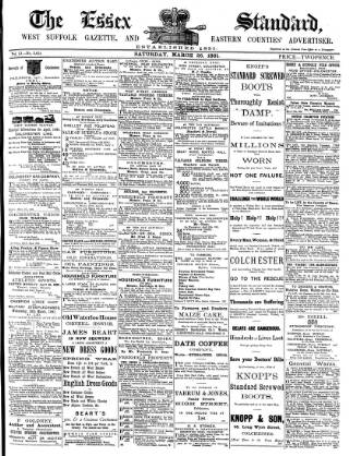 cover page of Essex Standard published on March 26, 1881