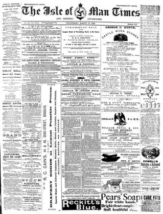 cover page of Isle of Man Times published on March 19, 1890
