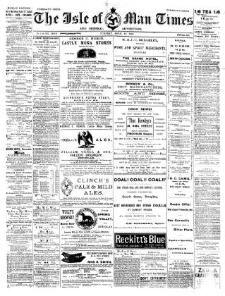 cover page of Isle of Man Times published on April 18, 1893