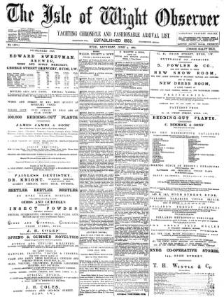 cover page of Isle of Wight Observer published on June 4, 1887