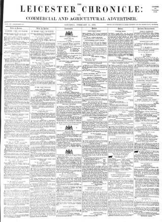 cover page of Leicester Chronicle published on February 21, 1863