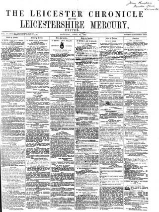 cover page of Leicester Chronicle published on April 20, 1867
