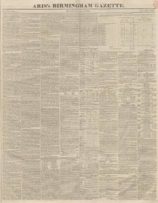cover page of Aris's Birmingham Gazette published on December 18, 1843