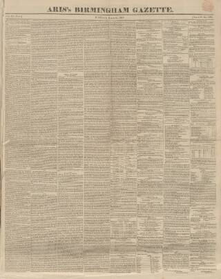 cover page of Aris's Birmingham Gazette published on March 24, 1845