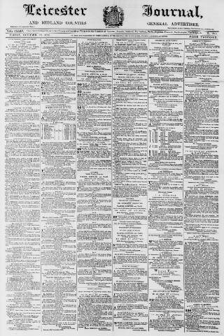 cover page of Leicester Journal published on October 18, 1878