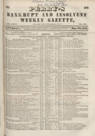 cover page of Perry's Bankrupt Gazette published on March 20, 1858