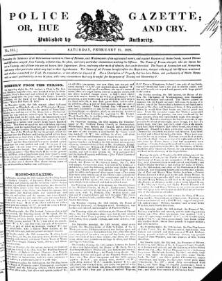 cover page of Police Gazette published on February 21, 1829