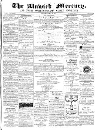 cover page of Alnwick Mercury published on March 20, 1869