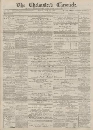 cover page of Chelmsford Chronicle published on June 23, 1882