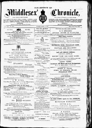 cover page of Middlesex Chronicle published on April 19, 1879
