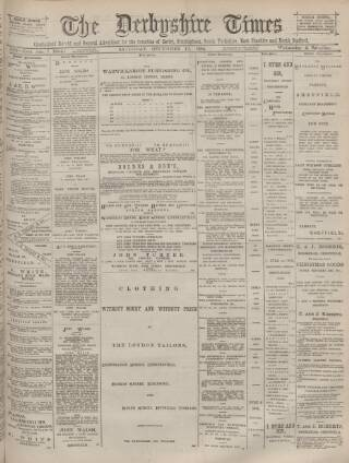 cover page of Derbyshire Times and Chesterfield Herald published on December 13, 1884