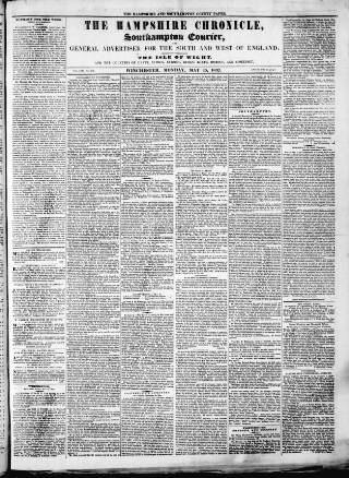 cover page of Hampshire Chronicle published on May 15, 1837