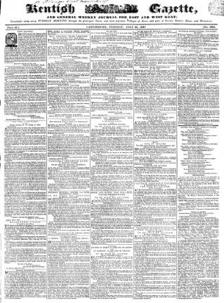 cover page of Kentish Gazette published on July 25, 1837