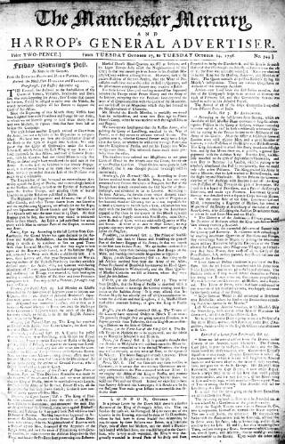 cover page of Manchester Mercury published on October 24, 1758