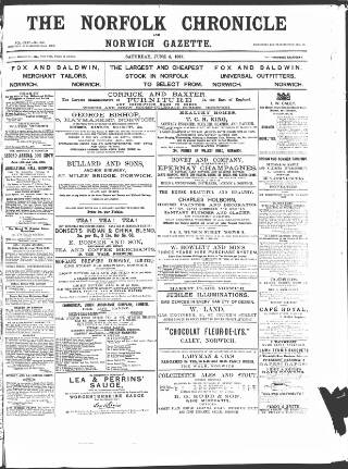 cover page of Norfolk Chronicle published on June 4, 1887