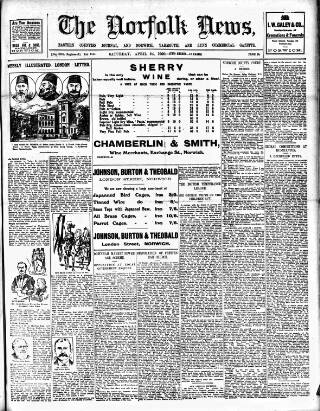 cover page of Norfolk News published on April 24, 1909